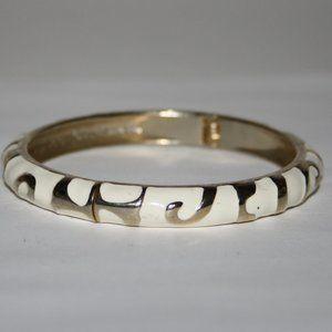 Gold and cream hinge bangle bracelet